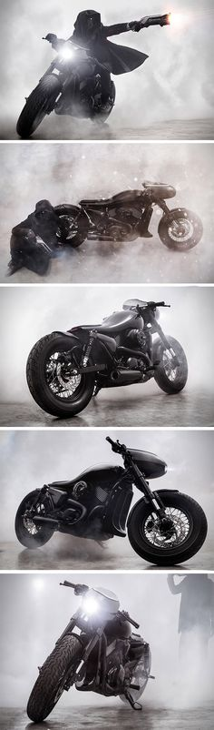 "This bad boy, the latest from the Vietnam-based Bandit9 gearheads, is an exploration in evil! Appropriately dubbed the ""Dark Side"", it's as handsome as it is menacing. Unlike many other bike builds, this design looks to the skies rather than the streets for inspiration. Its uniform body, a fusion of the fuel tank, seat and tail, looks more aircraft than motorcycle."