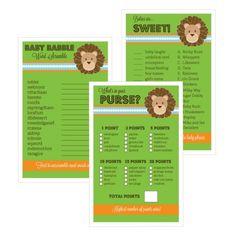 Baby Shower Games (Set of 10) - Jungle Safari