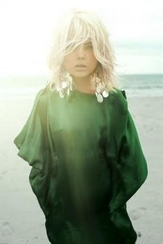 styling - flowing emerald, gold chandelier earrings, and tousled beach blonde w/ dark eye & nude lip