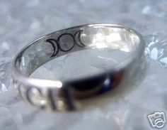 Triple moon Goddess Celtic Witch ring Sterling silver Sterling Silver 925 Jewelry