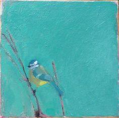 "Saatchi Art Artist Adriana Eyzaguirre; Painting, ""Blue Tit on Green (SOLD)"" #art"