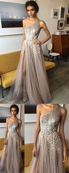 One Shoulder Tulle A Line Shinning Side Split Elegant Long Prom Dresses OKA81 #split #tulle #oneshoulder #aline #long #prom #okdresses