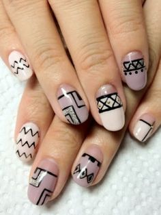Gorgeous Spring Nail Art Designs Ideas You Must Try Tribal Nails, Edgy Nails, Grunge Nails, Oval Nails, Funky Nails, Classy Nails, Cute Nail Art Designs, Crazy Nail Designs, Nail Art Designs Videos