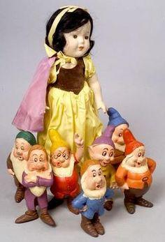 1938 Madame Alexander Doll; Composition, Snow White, + 7 Dwarfs, 13 inch.