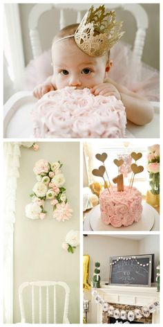 Party goals, right here! Love the floral accents in this pink and gold first birthday party!