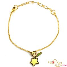 Little Prince Bracelet: This item is perfect for Little Prince fans. Gold plated and hand painted in colorful enamel. The bracelet chain is 7 inches in length. Matching necklace, ring and earrings sold separately.