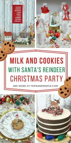 This fun and whimsical holiday party idea is perfect for an after-school snack for the kids and their friends! Santa's reindeer bring lots of cookies and milk for everyone. Get all of the decor and set up details now at fernandmaple.com!