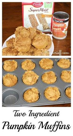 Two Ingredient Pumpkin muffins. A box of cake mix, a can of pumpkin puree and th… Two Ingredient Pumpkin muffins. A box of cake mix, a can of pumpkin puree and thirty minutes and you will have a dozen delicious pumpkin muffins! Köstliche Desserts, Delicious Desserts, Dessert Recipes, Yummy Food, Tasty, Recipes Dinner, Dessert Food, Health Desserts, Plated Desserts