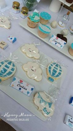 Cute cookies at a hot air balloons baptism party! See more party planning ideas at CatchMyParty.com!
