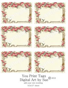 Instant Download - Pretty Framed Tags No.3-   Printable Digital Collage Sheet - 3.5 x 2.5 inches - pinned by pin4etsy.com