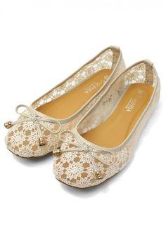 Bow Crochet Flat Shoes Chicwish.com