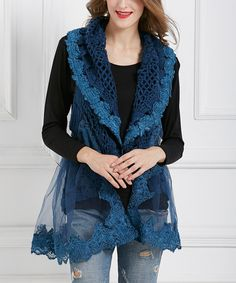 Love this Simply Couture Navy Open-Knit Sheer-Trim Wool-Blend Vest by Simply Couture on #zulily! #zulilyfinds