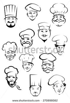 Professional chefs portraits showing multiethnic smiling mature and young mustached men in traditional toques for kitchen personnel or restaurant design - stock vector Identity Design, Logo Design, Graphic Design, Mustache Drawing, Burger Drawing, Tattoo Drawings, Art Drawings, Logo Smart, Chef Logo