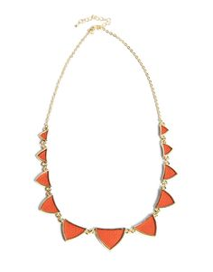 leather inset triangle necklace