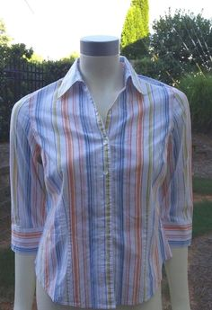 Talbots Women's Petites Multi colored Stripe Button Down Shirt Sz Medium Blouse…