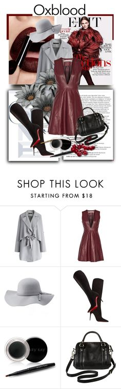 """""""Oxblood"""" by kari-c ❤ liked on Polyvore featuring Balmain, Chicwish, Acne Studios, Charlotte Russe, Christian Louboutin, Mary Kay, Merona and oxblood"""