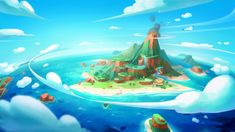 ArtStation - Paradise game concept work, H J W Environment Painting, Environment Concept Art, Environment Design, Landscape Concept, Fantasy Landscape, Fantasy Art, Illustrations, Illustration Art, Classic Rpg