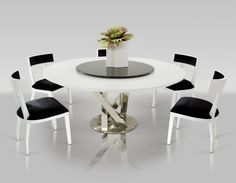 Round Dining Table For 6 Modern White Kitchen