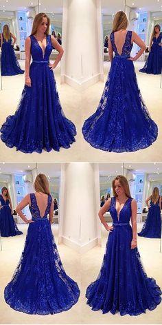 V-Neck A-Line Lace Prom Dress,Long Prom Dresses,Cheap Prom Dresses, Evening Dress Prom Gowns, Formal Women Dress,Prom Dress #promdress #promgown #prom #dress #gown #longpromdress #simplepromgown #charmingpartydress #eleganteveningdress #royalbluepromdress #Vbackpromgown #RosyProm