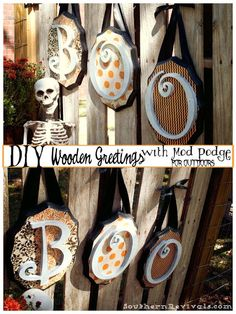 DIY Wooden Halloween Greetings with Mod Podge for Outdoors