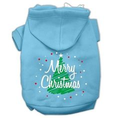 Scribbled Merry Christmas Screenprint Pet Hoodies Baby Blue Size XXL (18)