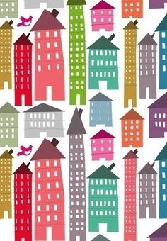 houses... pink green red turquoise...