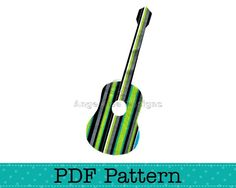 Acoustic Guitar Applique Template, Musical Instrument, DIY, Children, PDF Pattern by Angel Lea Designs
