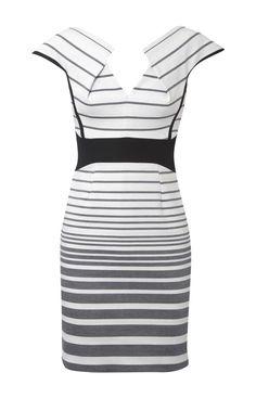Karen Millen Graphic Stripe Dress White and multicolor [#KMM042] - $90.15 :