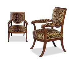 Pair of #Directoire armchairs in carved mahogany, Georges Jacob