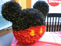 Mickey Mouse Piñata cutest Pinata ever! love u Micky mouse Mickey Mouse Pinata, Fiesta Mickey Mouse, Mickey Mouse Clubhouse Birthday, Mickey Mouse Parties, Mickey Party, Mickey Mouse Birthday, Disneyland Birthday, Homemade Pinata, Birthday Parties