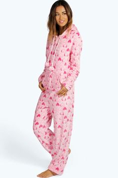 Pink Heart Fleece Adult Womens Onesie Pink Onsies  a0383610b