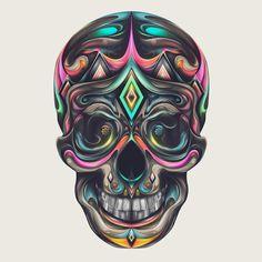 Skull, By Rik Oostenbroek. Illustrations, Illustration Art, Skull Artwork, Sugar Skull Art, Sugar Skulls, Skeleton Art, Skull Island, Goth Art, Skull Design