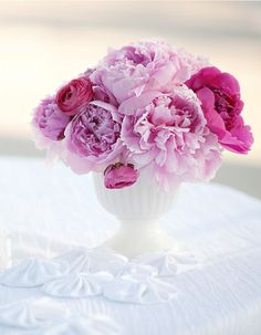 Hot pink ranunculus added to large blooms of soft pink peonies look soft and romantic. Ribbon Wands, Diy Ribbon, Pretty In Pink, Beautiful Flowers, Simple Flowers, Simply Beautiful, Beautiful Things, Wedding Centerpieces, Wedding Decorations
