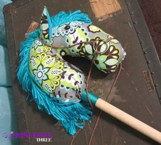 Grey with Green Flower Pattern Hobby Horse by ThePrincessesThree, $32.00
