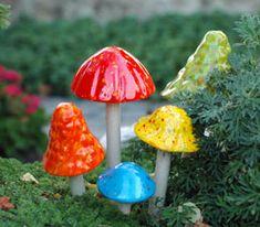 ceramic mushrooms garden sculpture