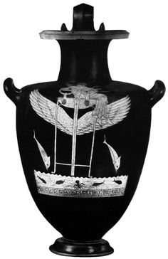 Apollo flying over the sea on his winged tripod. Below him, dolphins, fish, and octopus in the water. Attic Red-figure hydria by the Berlin Painter, 480 - 470. H. 51.5 cm. Simon, Erika. Die Griechischen Vasen. Hirmir Verlag, Munich: 1981. Plate 140