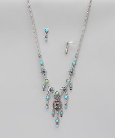 Take a look at this Blue & Coral Floral Crystal Necklace & Earrings by Felicia LTD on #zulily today!