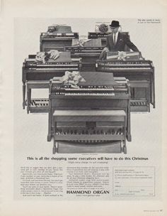 "Description: 1963 HAMMOND ORGAN vintage print advertisement ""This is all the shopping"" -- This is all the shopping some executives will have to do this Christmas * Hammond S-101 Chord * Hammond L-103 Spinet * Hammond M-102 Spinet * Hammond B-3 Console * Hammond A-101 Console * Hammond D-152 Console * Hammond Organ -- music's most glorious voice -- Size: The dimensions of the full-page advertisement are approximately 10.25 inches x 13 inches (26 cm x 33 cm). Condition: This original vintage…"