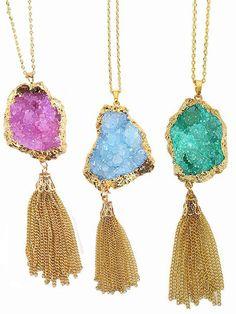 Long Druzy Chain Tassel Necklace