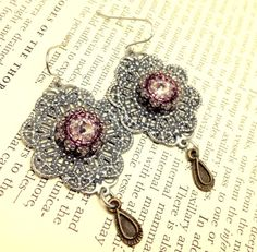 Antique Silver Filigree Earring with Swarovski by RestlessArtMpls, $25.00