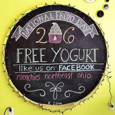 "@Kelli Laske's photo: ""#nationalfroyoday #nfyd #froyo #frozenyogurt #menchies #chalkboard"""