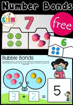 Solve missing addends with playdough, set up a fun math center with write and wipe cards. There are somefree Number Bond Activities! Fun math centers for kindergarten and first grade! Teaching Numbers, Numbers Kindergarten, Math Numbers, Kindergarten Activities, Decomposing Numbers, Preschool, Kindergarten Addition, Subtraction Activities, Therapy Activities