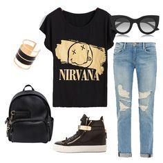Black Short Sleeve NTRVANA Print T-Shirt