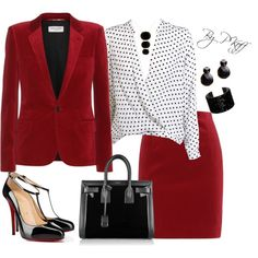 A fashion look from October 2014 featuring Yves Saint Laurent blazers, Yves Saint Laurent skirts and Christian Louboutin pumps. Browse and shop related looks.