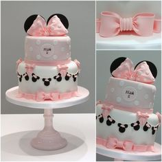 Minnie Mouse themed birthday cake with Minnie Mouse bunting for a vintage twist…