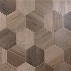 Porcelain Hexagon | 8 inch | Wood Look Tile | Nut