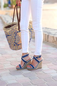 Southern Curls & Pearls in Tory Burch lilah wedges | Shopbop