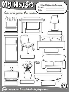 My house - Picture Dictionary 2 (BW version) English Teaching Resources, English Activities, Teaching Spanish, Kids English, English Lessons, Learn English, School Worksheets, Worksheets For Kids, Lkg Worksheets