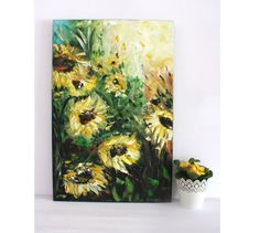 Love Sunflowers Oil Painting Art Oryginal Idea by BarbaraGallery