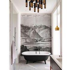 Bespoke bathroom inspiration via @grisorodesigns 💫Designer: unknown.#bespoke #bathroom #design #bespokebathroom #bathroomdesign #uniquebathroom #bathroommural #wallmural #wallhanging #wallpaper #featurewall #bathroomdetails #interiordesign #interiors #interiordetails #monochrome #monochromebathroom #bathroominspiration